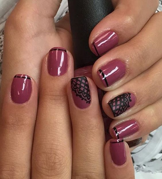 Maroon and black themed French tips. Create a dark inspired design for your French tips by adding black lace details on your nails.