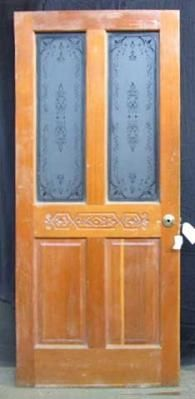 Yellow pine door with etched glass panels project for Yellow pine wood doors