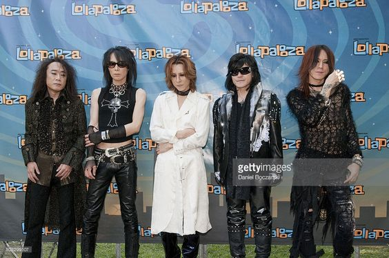 Pata, Heath, Yoshiki, Toshi and Sugizo of X Japan pose during day three of Lollapalooza at Grant Park on August 8, 2010 in Chicago, United States.