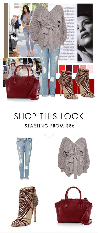 """Street style"" by francescar ❤ liked on Polyvore featuring moda, Frame Denim, Topshop, Jimmy Choo, Rebecca Minkoff, women's clothing, women's fashion, women, female y woman"