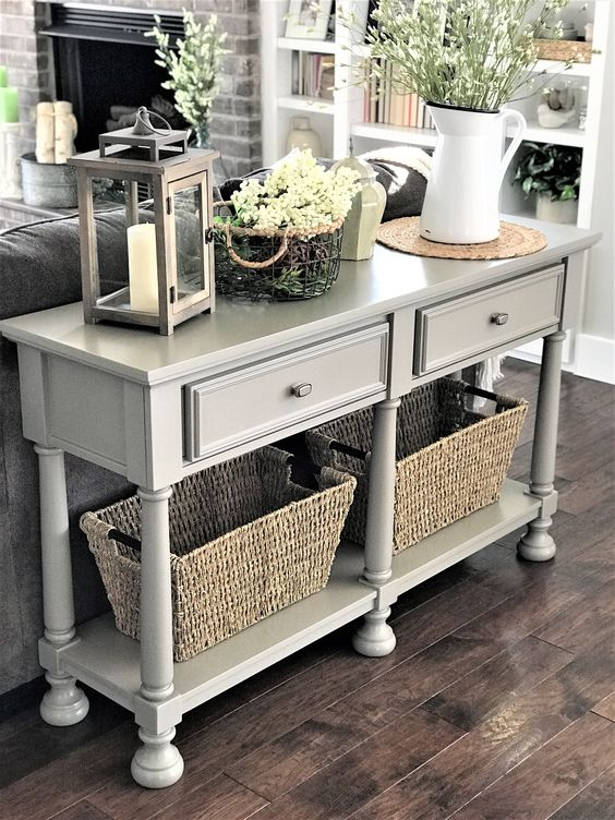 Spring Decor, Sofa Table, DIY upgrade with chalk paint, tutorial