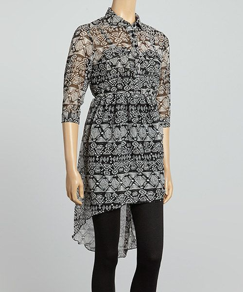 Another great find on #zulily! She's Cool Black & Ivory Tribal Shirt Dress by She's Cool #zulilyfinds