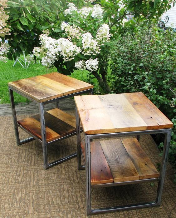 Reclaimed Wood And Metal Coffee Table: RECLAIMED BARN WOOD METAL BASE COFFEE & SIDE TABLE SET