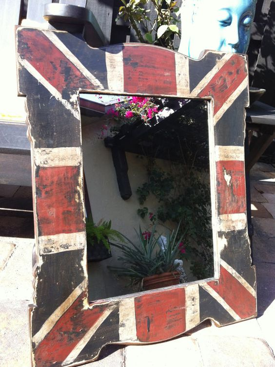 Union Jack Mirror. I could definately do this with an old mirror. Our home office is Union Jack Decor so this would be a perfect addition.