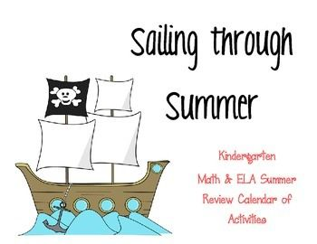 Kindergarten calendars for summer review.  Math and ELA Common Core activities included.  1 task per day- super simple but effective!