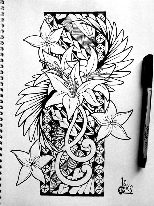 Hawaiian Tribal Flower Drawing