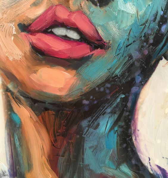 Close up of a new painting I'm working on  embracing my pull towards a blue oceanic palette, thick paint, the ocean and mermaid-esque muses purchase this fine art print here:...
