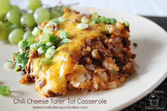 Chili Cheese Tater Tot Casserole from lovebakesgoodcakes