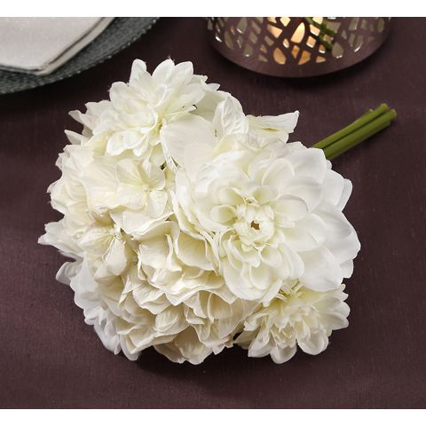 white dahlia bouquet - like the textures, this could be nice with bringing in orange/peach