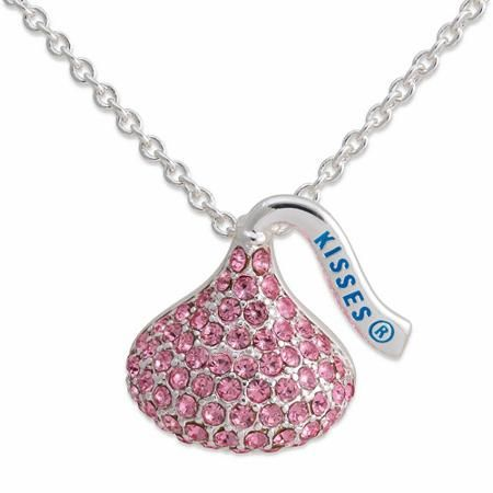 """Hershey's Kiss Pink Crystal Accent Silver-Tone Kiss Pendant, 18"""""""