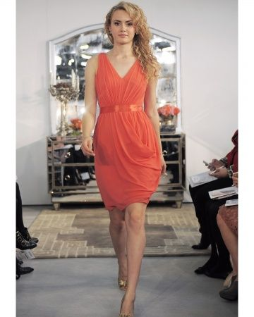 I like the idea of short dresses for my bridesmaids but the color id like a more fall burnt orange.