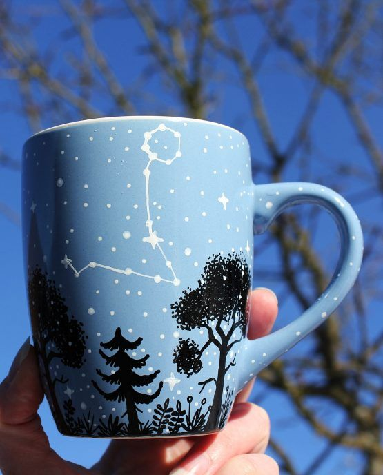 Crescent Moon With Optional Constellation Shewolfka Pottery Painting Designs Pottery Painting Ideas Easy Painted Mugs