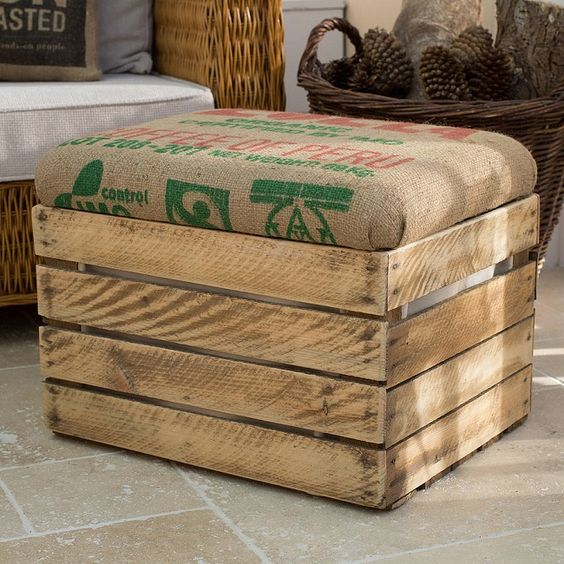 Hessian sacks apple crate seat inspiration pinterest for Used apple crates