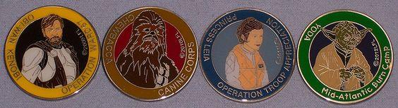 Pennsylvania Star Wars Club Charity Medallions  2009: Obi-Wan Operation Ward57  2010: Chewbacca Canine Corps  2011: Princess Leia Operation Troop Appreciation  2012: Yoda Mid-Atlantic Burn Camp