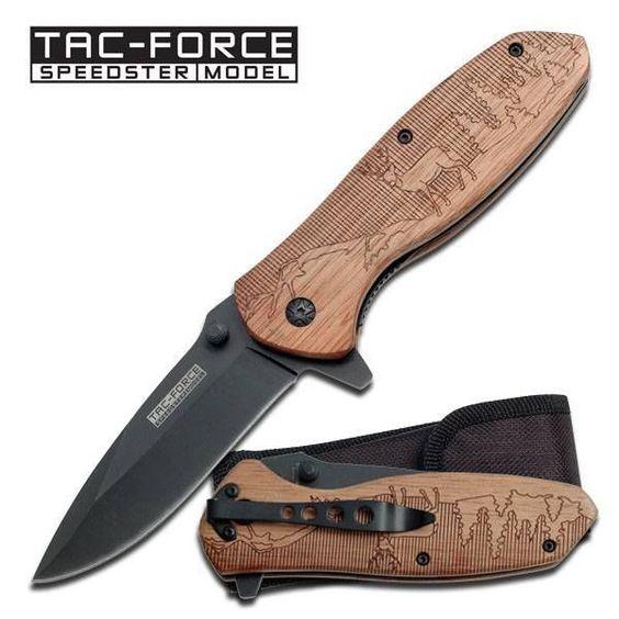 Tac force deer hunting wood carved folding knife pocket