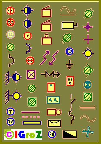 Símbolos eléctricos hay muchos, aunque para el caso que nos tiene aquí, los más comunes son los siguientes.   Los colores de los símbolos so...