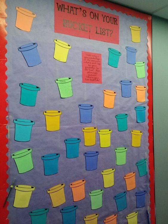 """""""What's on your bucket list"""" bulletin board -- use for goal setting at the beginning of the semester"""