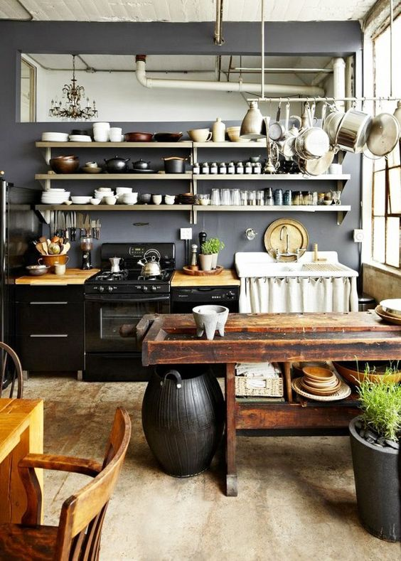 Rustic country kitchen with dark walls and wood table
