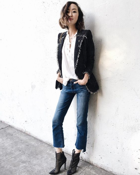 "Chriselle Lim su Instagram: ""Frayed edges on top @rebeccataylornyc , frayed edges on bottom @motherdenim ✌"""
