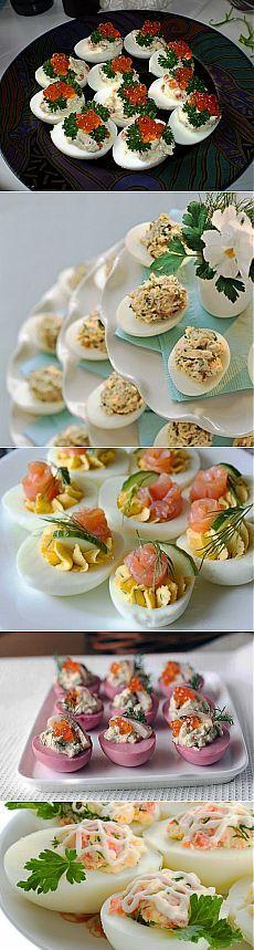 Plněná vajíčka.  26 Možnosti pro zálivky.