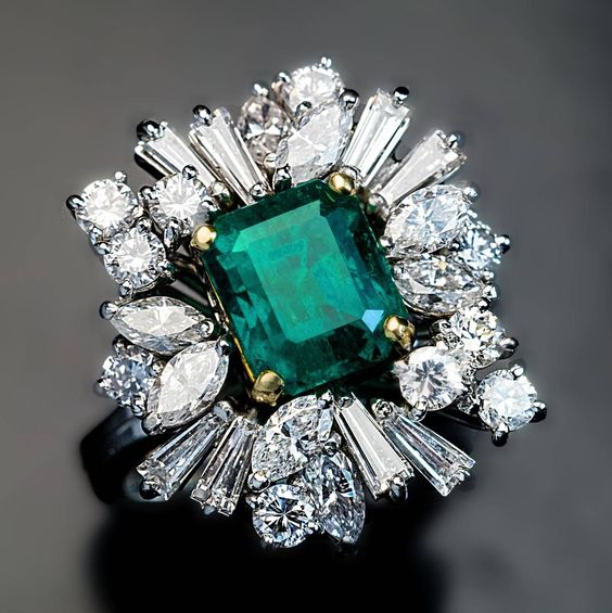 Emerald Diamond Platinum Ring | From a unique collection of vintage cluster rings at https://www.1stdibs.com/jewelry/rings/cluster-rings/