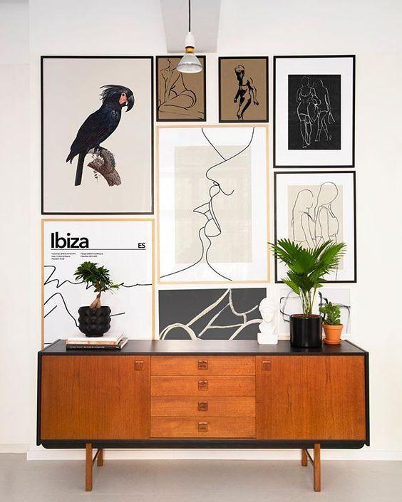 More is well more sometimes. Like in this lovely poster wall straight from our office . Featured prints: Parrot 1 70x100cm Ibiza Abstract 70x100cm Cherish The Day 30x40cm Old Man Anatomy 30x40cm Lips Met 70x100cm Gotta Let you Go 70x100cm Influencer Marketing 50x70cm Sisterhood 50x70cm Gravity pt1 21x30cm Gravity pt2 21x30cm
