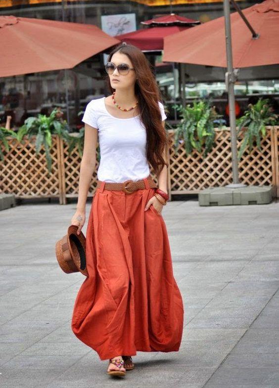 Maxi Skirt Lagenlook Sexy Bud Long Skirt in Dark Orange