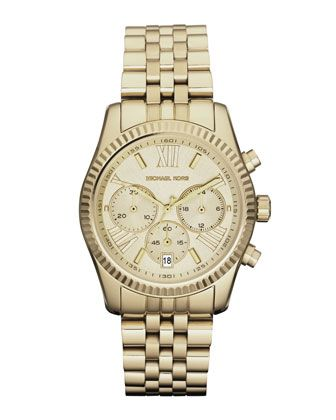 Michael Kors Mid-Size Golden Lexington Chronograph Stainless Steel Watch.