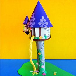 Little artists will love creating their own towers, using simple materials like paints and an empty paper towel roll. The tower is a nice complement to any child's room, but it can also serve as a centerpiece for a Tangled-themed party!