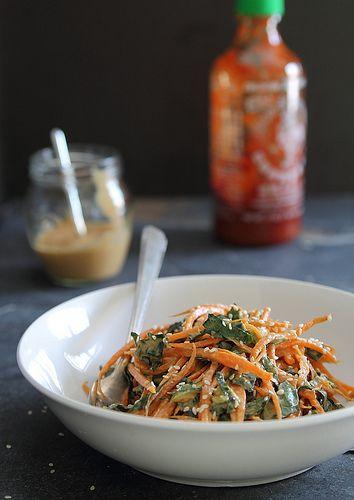 Spicy Thai Carrot and Kale Salad with creamy sriracha peanut dressing. (dairy-free, vegan)