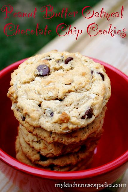 Peanut Butter Oatmeal Chocolate Chip Cookies - Big and chewy!  Perfect for the lunchbox on the first day of school.