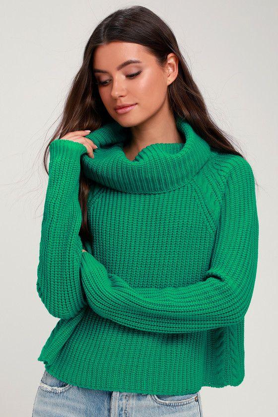 Anzen Green Cowl Neck Sweater   Knitting women sweater