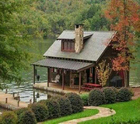 Aside From The Headless Ghost On The Porch Swing This Looks Like Somewhere I D Never Want To Leave Dreamhouse Log Homes Little Cabin Lake House