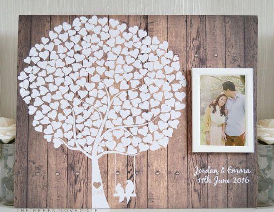 Haben Sie eine rustikale inspirierende Hochzeit? Hast du das perfekte Gästebuch schon gefunden?  Ich entwarf dieses schönen Gästebuch, die Zeichen, weil ich nicht mein eigenes Gästebuch, versteckt unter dem Bett verstaut. Ich wollte etwas, das ich mit Stolz an der Wand zu Hause etwas anzeigen kann, die ich an jedem Tag aussehen könnte.  Lassen Sie mich Sie dieses atemberaubende Gästebuch Zeichen zeigen! Mit 220 Herzen warten auf Ihre Gäste, ihren Namen zu unterzeichnen kann ich 2 Namen und…