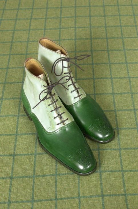 Handmade Two Tone High Ankle Boots, Men