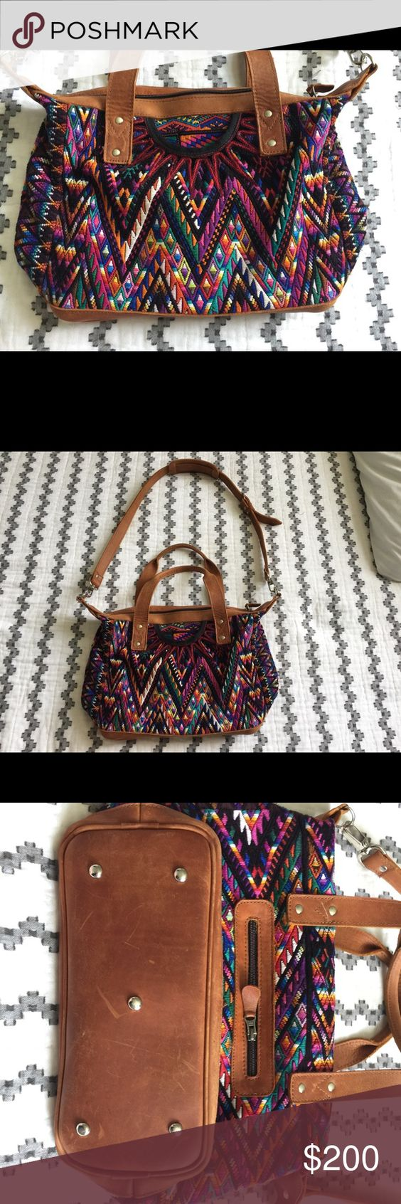Nena and Co Sonia Gently used Sonia from Nena and Co. I purchased this bag in February and used it for about a month. The leather has normal scratches and the huipil has some pulls which are normal ( see photos for details). The handle does have a few los