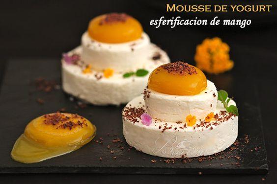 Mousse de yogurt con esferificaci n de mango gelatinas - Mouse de yogurt ...