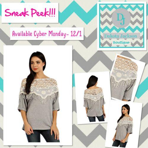 Sneak Peek!! heather gray & crochet top available Cyber Monday 12/1 on the Dakota Jackson Boutique Facebook pg.  Like us on Facebook: www.facebook.com/DakotaJacksonBoutique