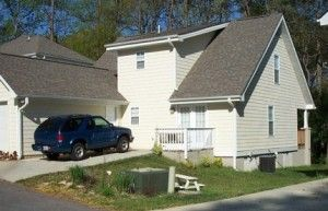This house on a steep lot has many steps at the front and none at the back.