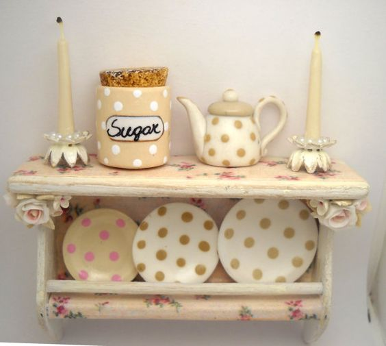 1/12TH scale  shabby chic romantic cream roses kitchen by 64tnt, €22.00