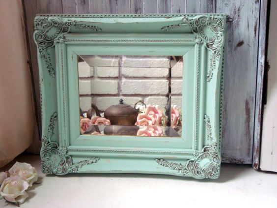 Mint Green Ornate Mirror Pastel Green Vintage by WillowsEndCottage