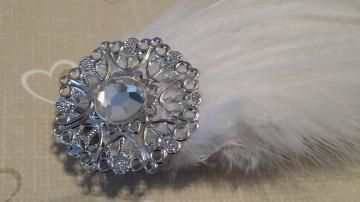 Bridal white feather hair clip with crystal accent