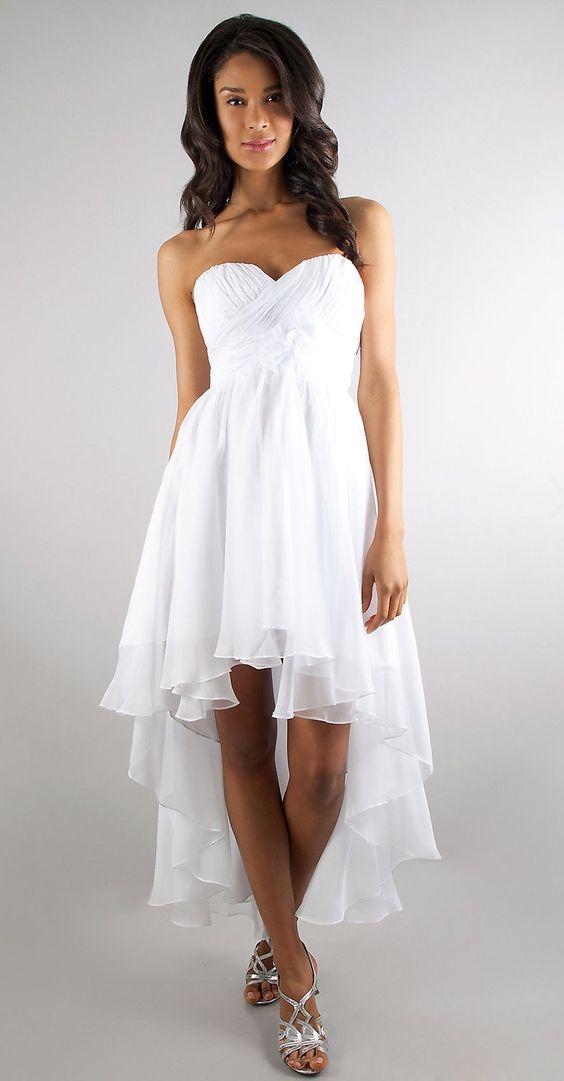 A Line High Low White Semi Formal Dress Chiffon Strapless Empire ...