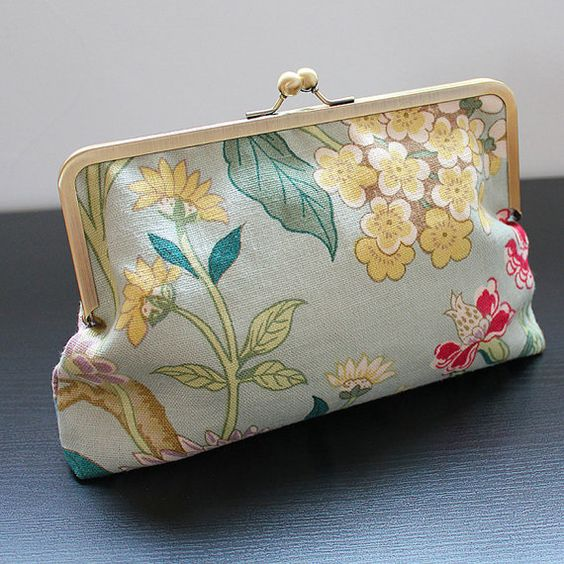 Floral Linen Clutch Purse by PortobelloBags on Etsy