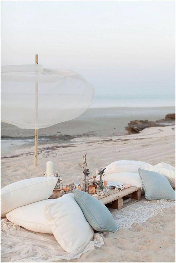 Dining on the beach.