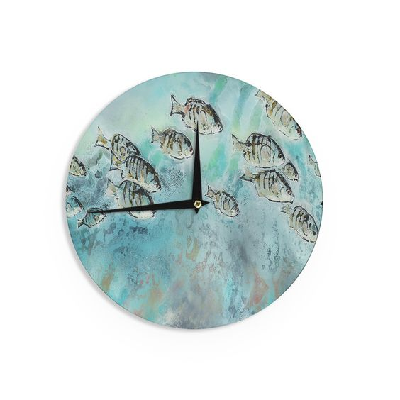 "Josh Serafin ""Perch Surfin'"" Blue Green Wall Clock"