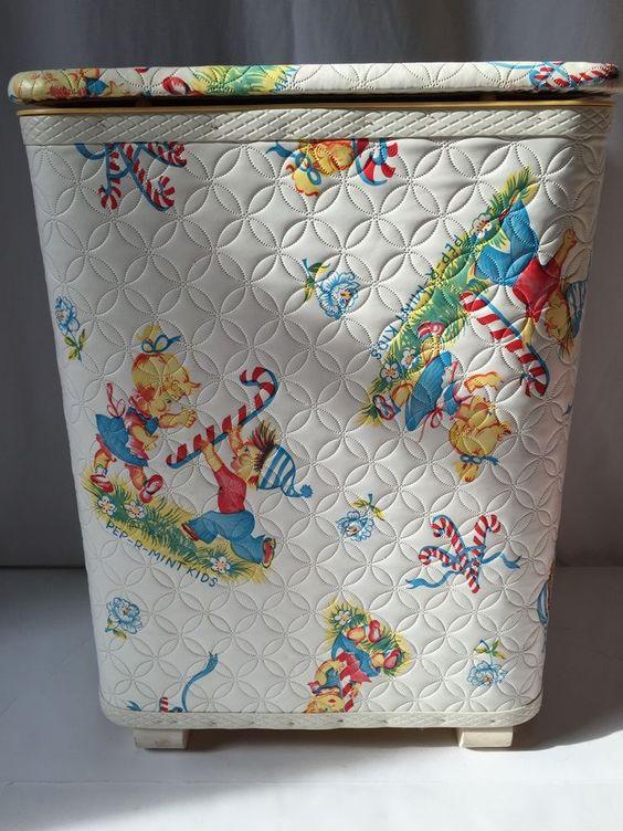 Vintage Redmon Clothes Hamper Laundry Bin Peppermint Kids Christmas (926) #Redmon