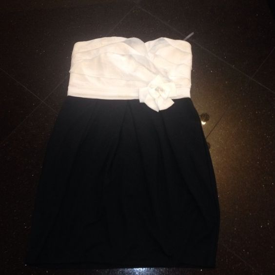 White and black dress White and black forever 21 dress, stretchy good condition! One small stain! Forever 21 Dresses
