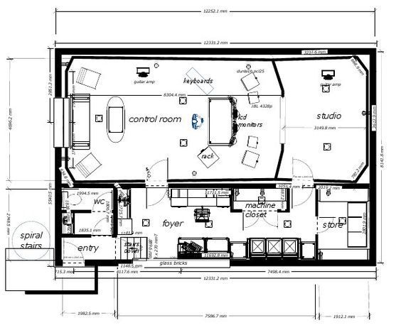 Basement recording studio layout home studio pinterest for Basement design layouts