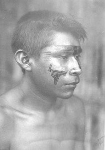 Guahibo boy with face paint. Columia Photograph by Paul Beer. 1938.